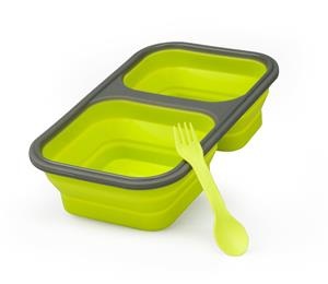 Collapsible silicone lunch box_food storage with two compartments In Green