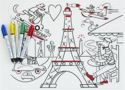 USSE kids mark-mat coloring silicone baby placemat, a beautiful city.