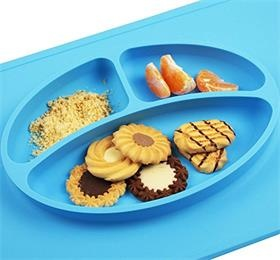 silicone placemat 3 compartments plate for kids