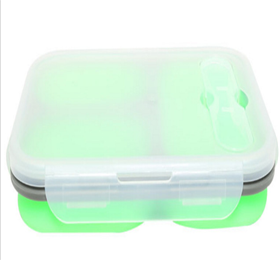 silicone microwaveable collapsible food container 3- compartments