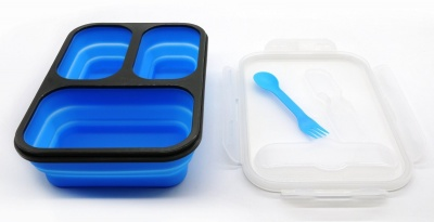 foldable 3 compartment collapsible silicone lunch box