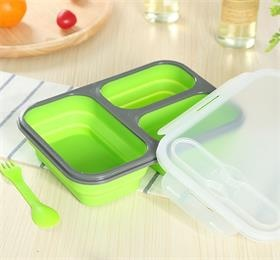 3 section collapsible silicone lunch box