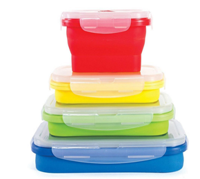 fashionable food storage silicone collapsible lunch bento box