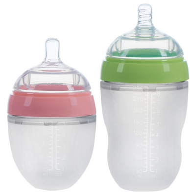 wide neck squeeze silicone baby bottle