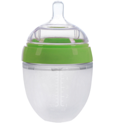 BPA free wide neck squeeze silicone baby feeding bottle