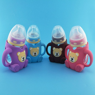 wide neck anti-scald silicone baby milk bottles