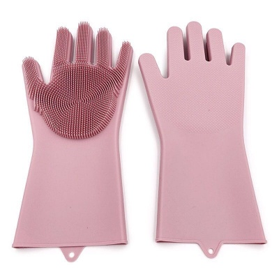 newly magic reusable silicone gloves with wash scrubber