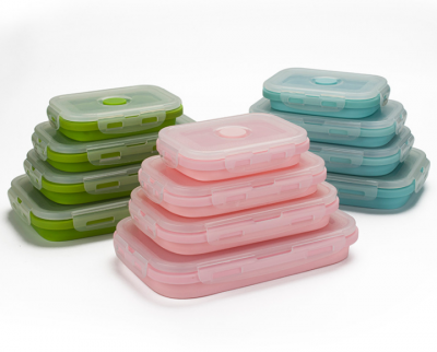 Various Models Silicone Rectangle Collapsible Food Container