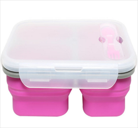 3 Compartment Folding Silicone Lunch Box